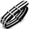 20mm G10 Nato James Bond Heavy Nylon Strap Brushed Buckle J10 Double Black & White Strapcode Watch Bands