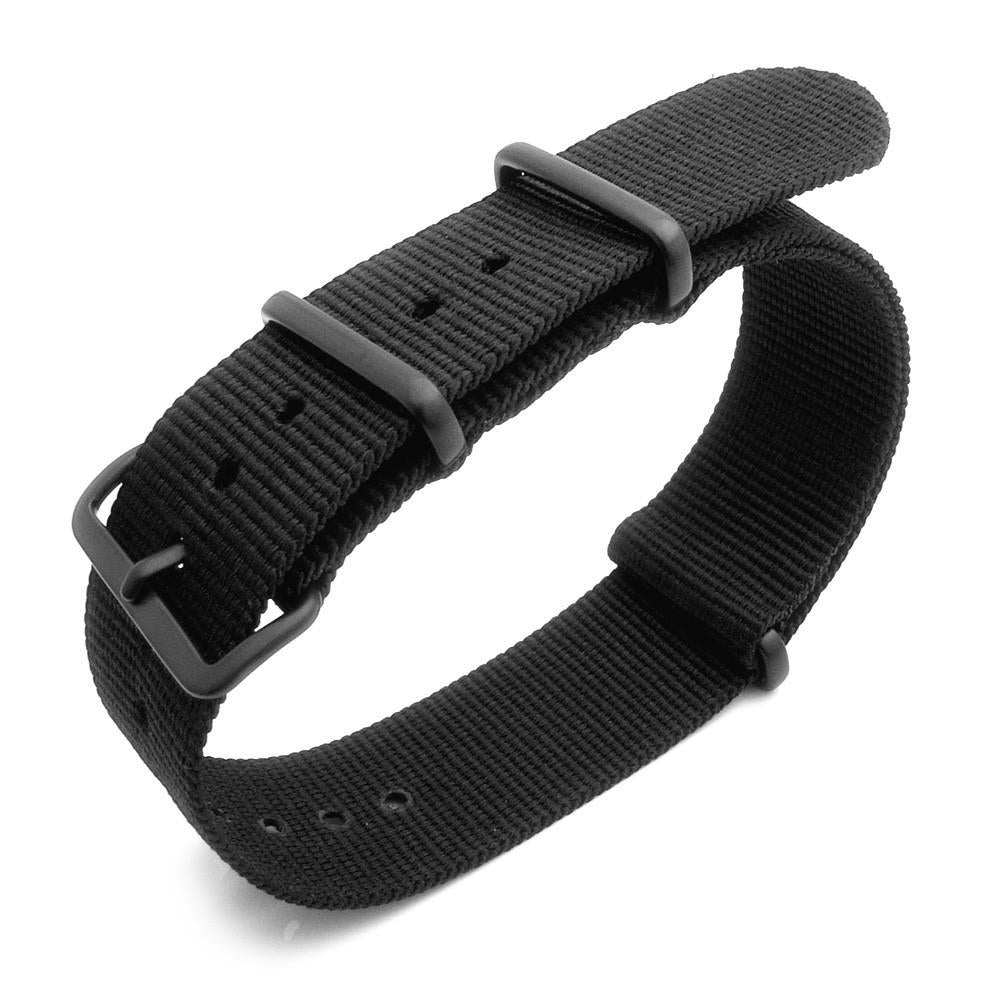 Nato 18mm 20mm 22mm or 23mm Heat Sealed Heavy Nylon PVD Black Buckle Black Strapcode Watch Bands