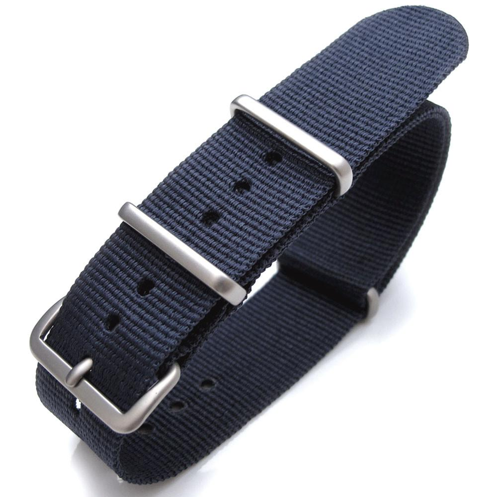Nato 20mm 21mm or 22mm Heat Sealed Heavy Nylon Watch Band Brushed Buckle Navy Blue Strapcode Watch Bands