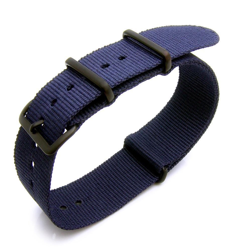 Nato 18mm 20mm or 22mm Heat Sealed Heavy Nylon PVD Black Buckle Navy Blue Strapcode Watch Bands