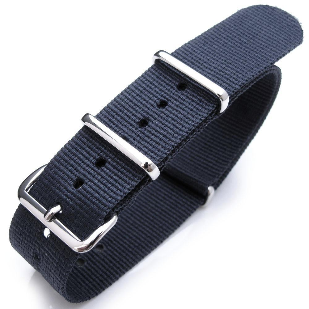 Nato 20mm 21mm or 22mm Heat Sealed Heavy Nylon Polished Buckle Navy Blue Strapcode Watch Bands