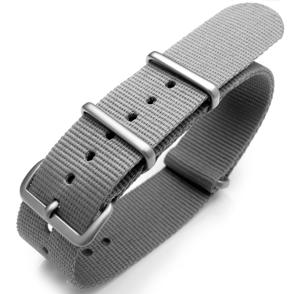 20mm or 22mm Nato Heat Sealed Heavy Nylon Brushed Buckle Light M. Grey Strapcode Watch Bands