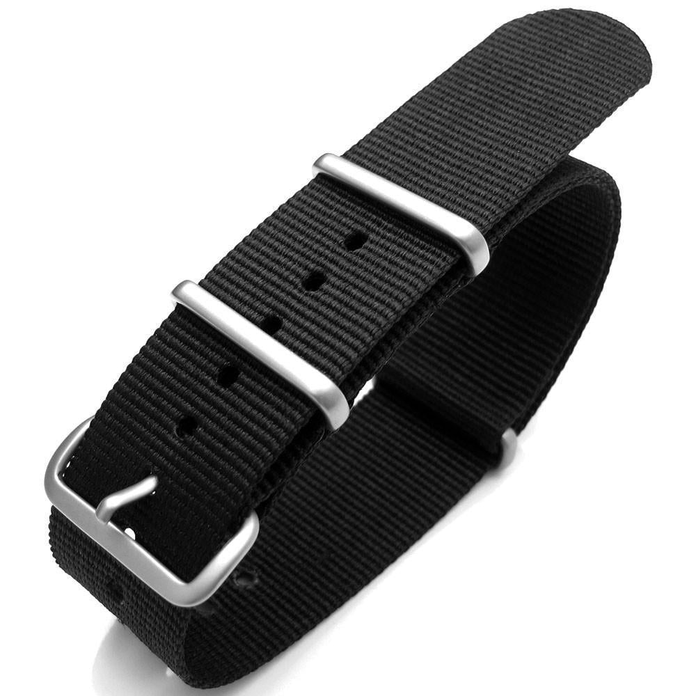 16mm to 24mm Nato G10 Nylon Black Strap Brushed Hardware Strapcode Watch Bands