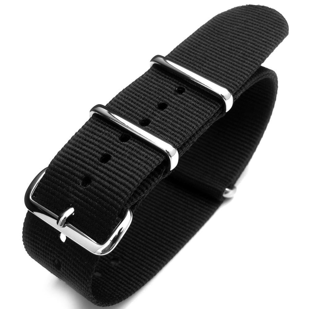 Matte Black G10 Nato Watch Band Heat Sealed Heavy Nylon Polished Buckle Strapcode Watch Bands