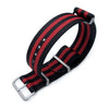 18mm 20mm 22mm or 24mm G10 Nato James Bond Heavy Nylon Strap Brushed Buckle J03 Double Black & Red Strapcode Watch Bands