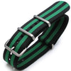 22mm G10 Nato James Bond Heavy Nylon Strap Brushed Buckle J08 Double Black & Green Strapcode Watch Bands