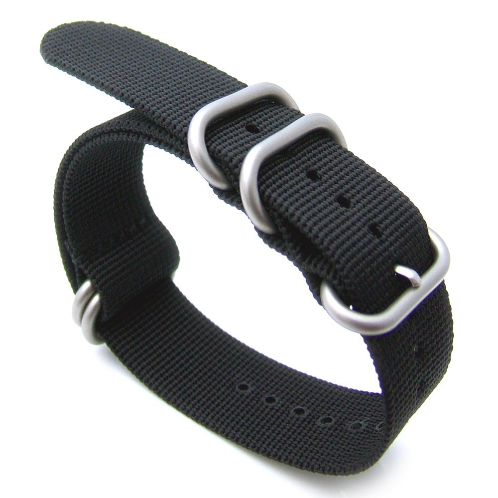 20mm 22mm or 24mm NATO 5 Rings Zulu Heavy Thread Nylon-Black Brushed hardware Strapcode Watch Bands