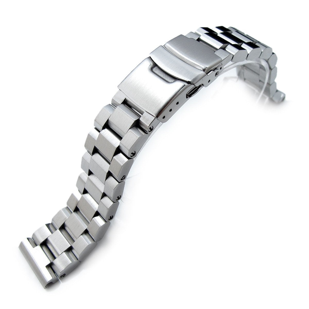 20mm Hexad 316L Stainless Steel Watch Band Straight End Lug Diver Clasp Brushed Strapcode Watch Bands