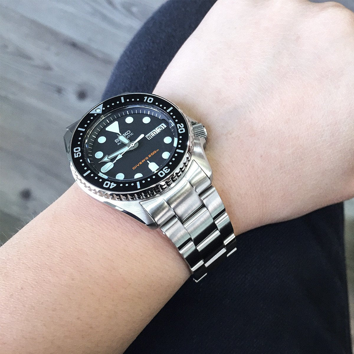 20mm Super-O Boyer Watch Bracelet for Seiko SKX013 Brushed 316L Stainless Steel Sub-Clasp Strapcode Watch Bands