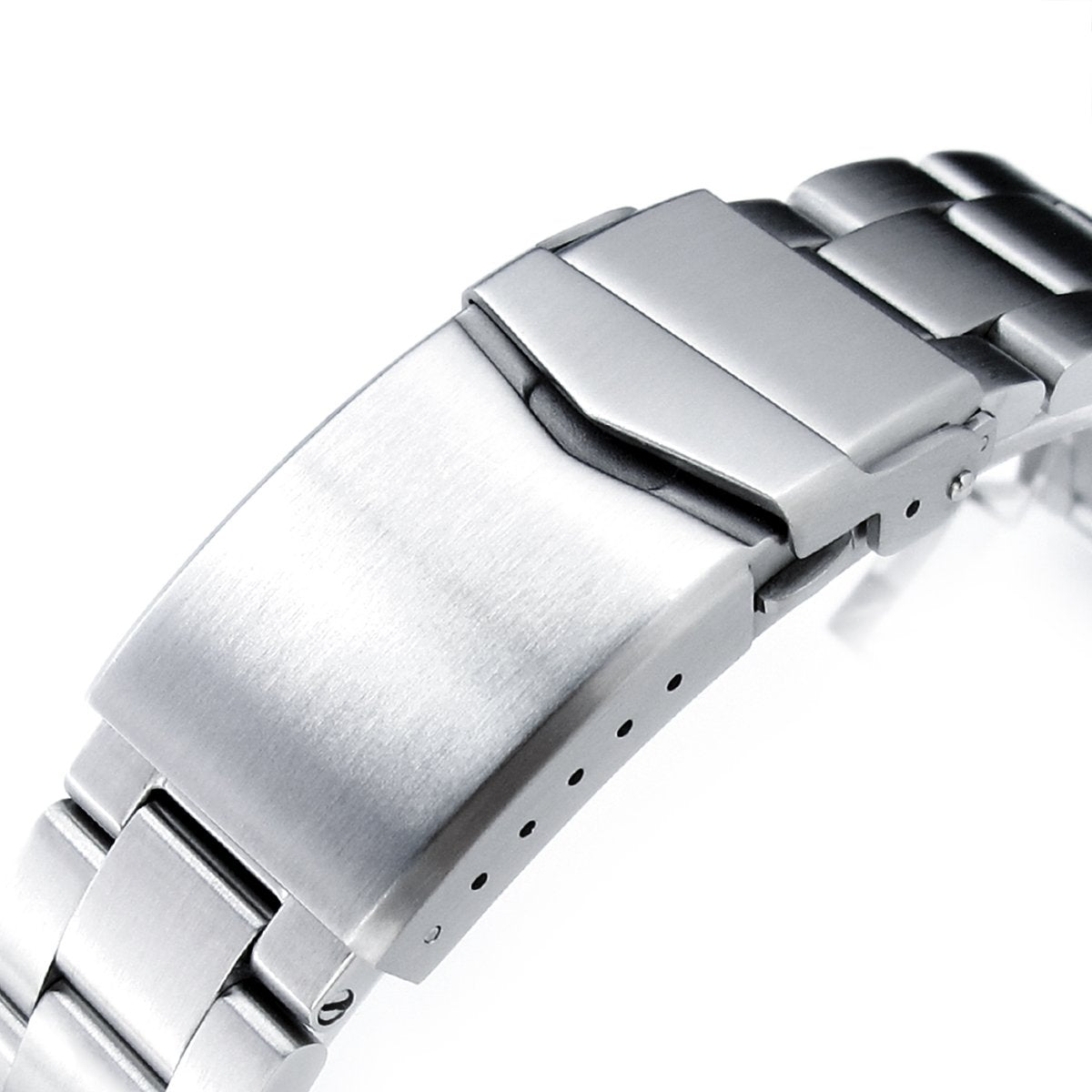 20mm Super-O Boyer 316L Stainless Steel Watch Bracelet Straight End V-Clasp Button Double Lock Brushed Strapcode Watch Bands