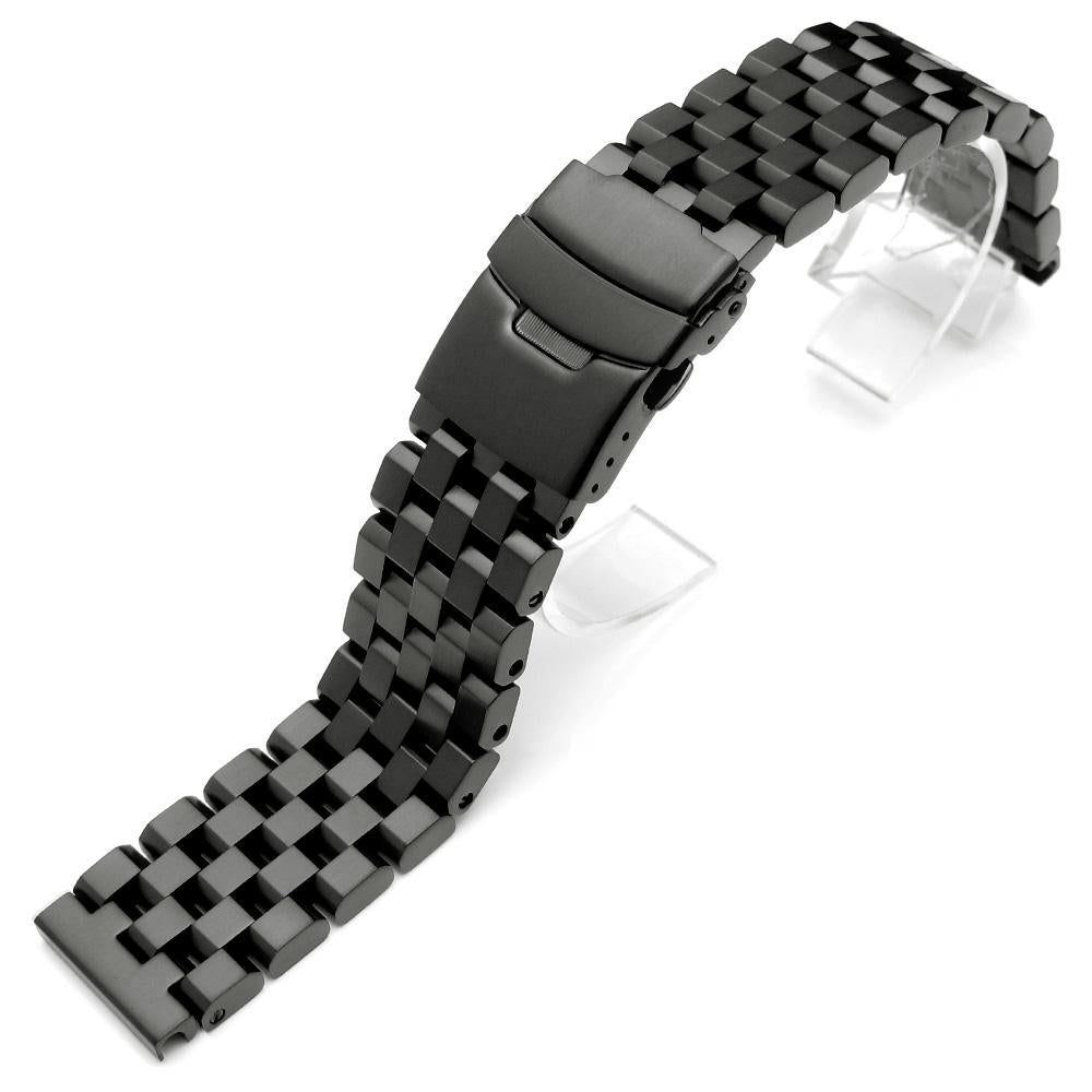 SUPER Engineer Type II Solid Stainless Steel Straight End Watch Band Push Button PVD Black Strapcode Watch Bands