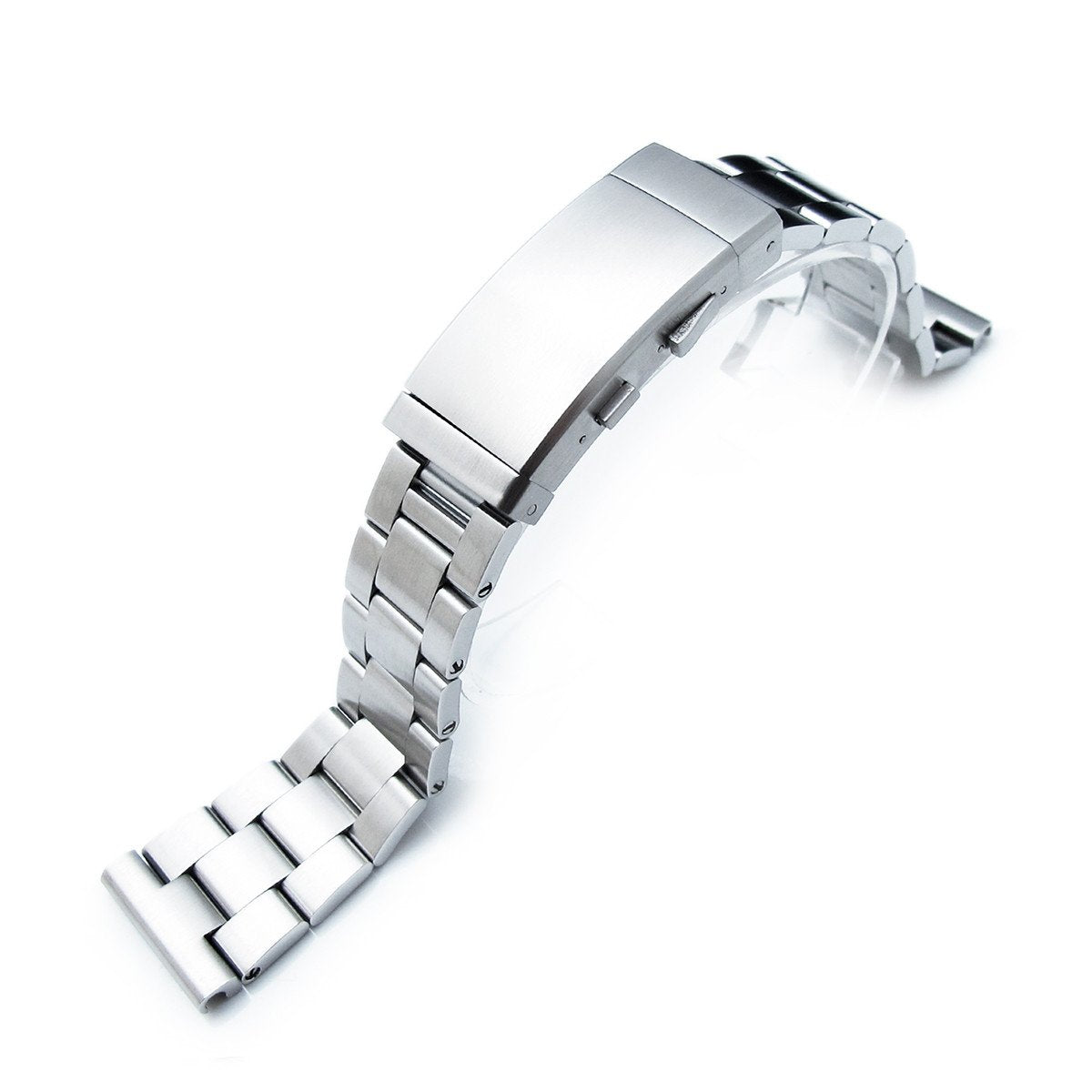 19mm 20mm or 21mm Super-O Boyer Solid Stainless Steel Straight End Watch Band Brushed Wetsuit Clasp Strapcode Watch Bands