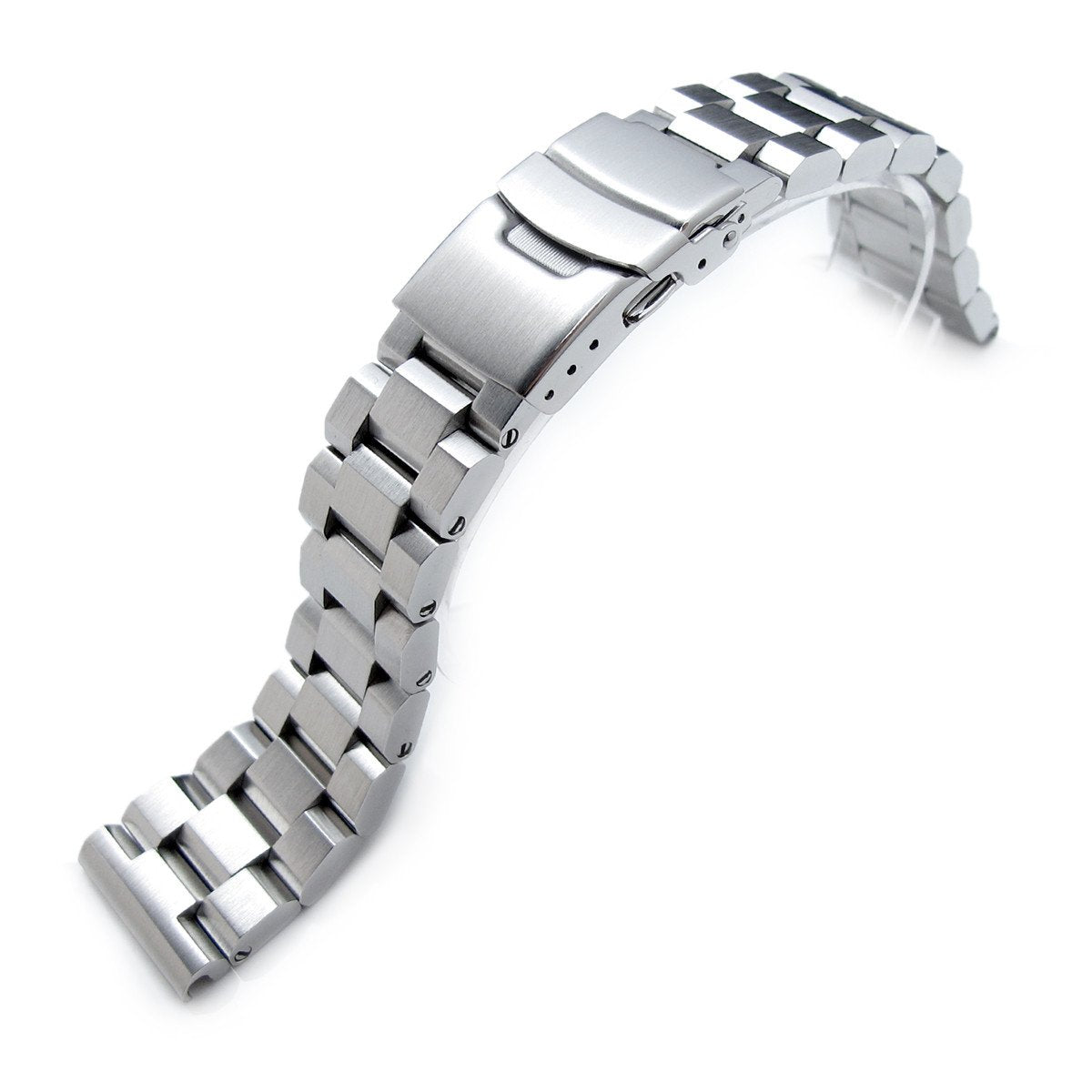 22mm Hexad 316L Stainless Steel Watch Band Straight End Lug Diver Clasp Brushed Strapcode Watch Bands