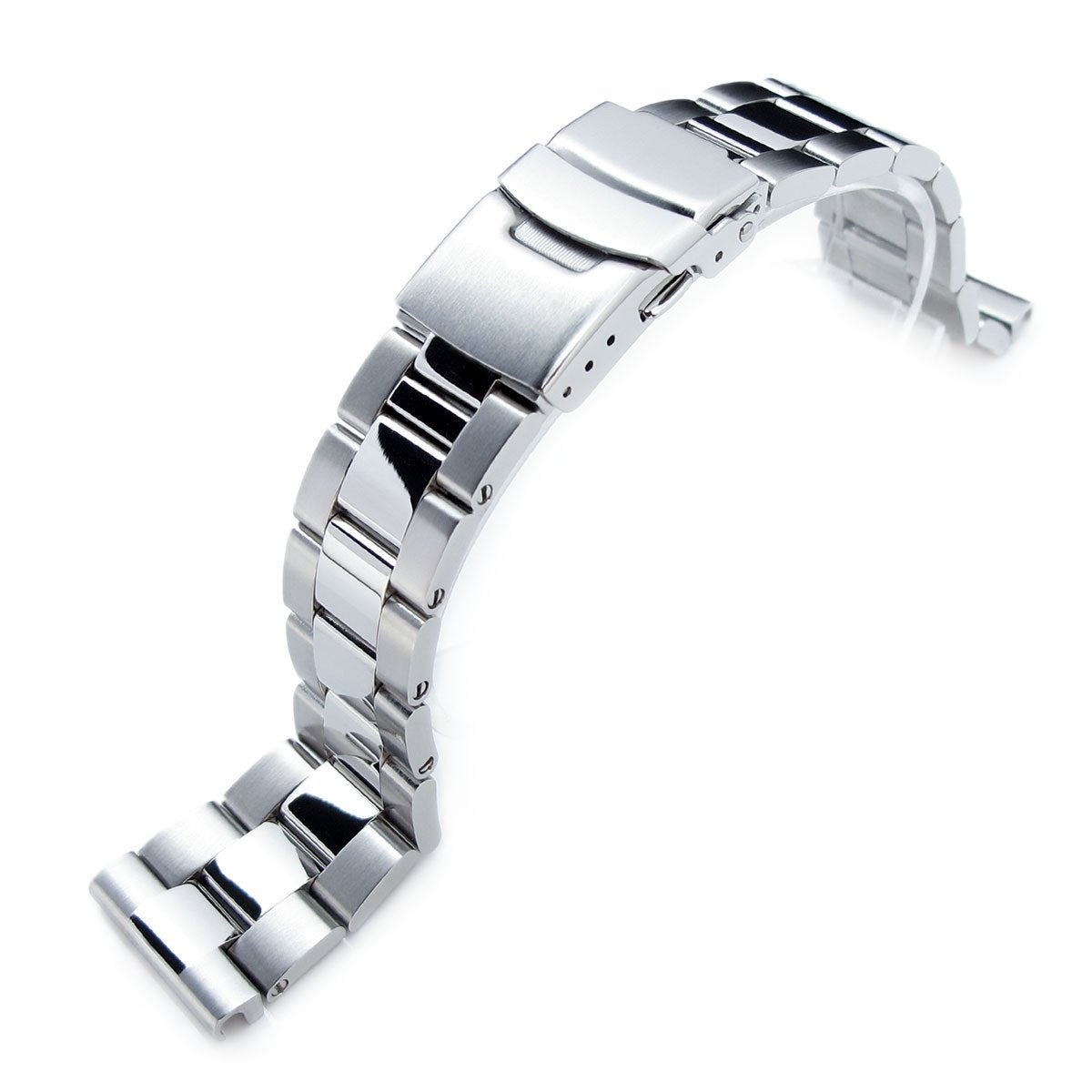 22mm Super-O Boyer Brushed & Polished Crossover 316L SS Straight End Watch Bracelet Strapcode Watch Bands