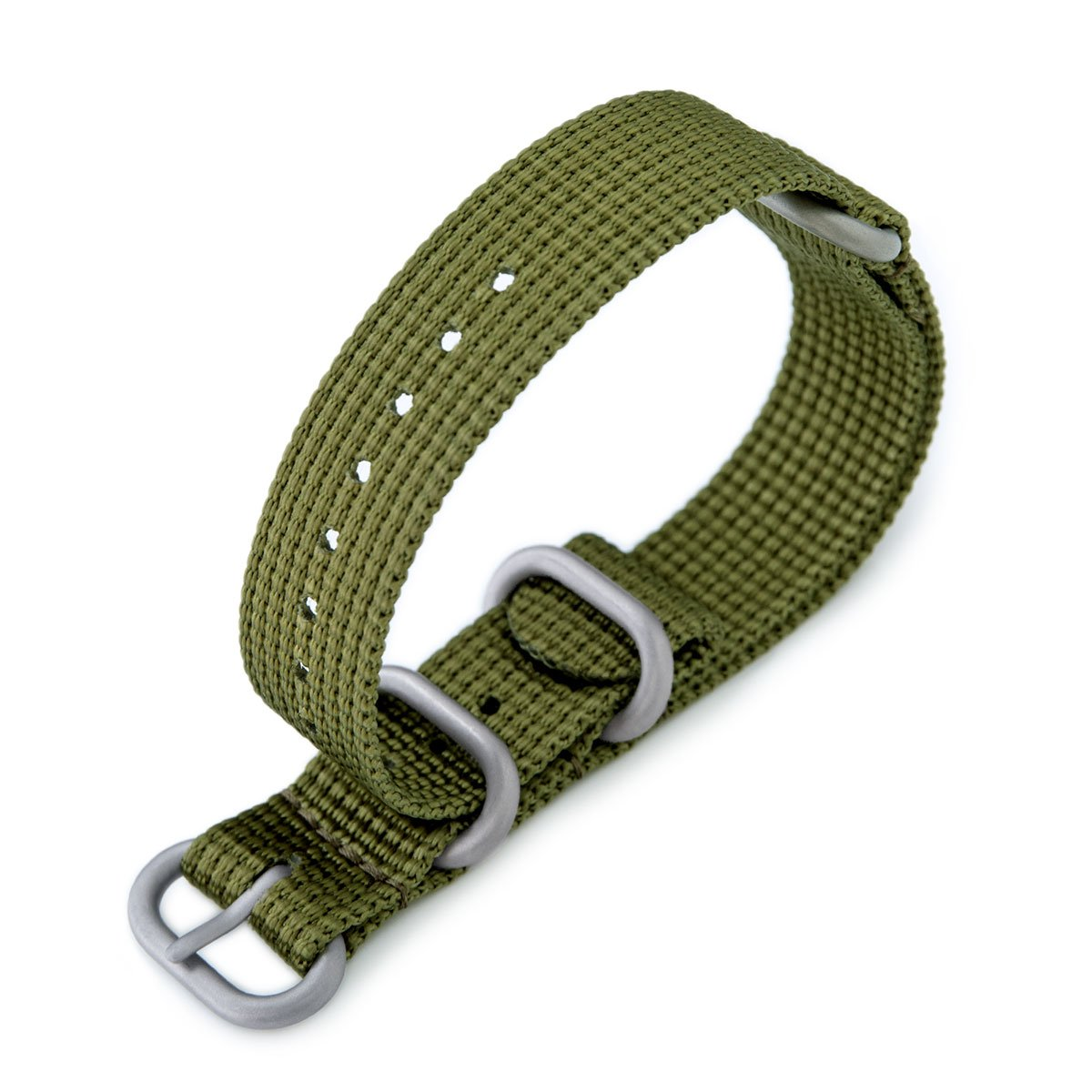 MiLTAT 18mm 3 Rings Zulu military watch strap 3D woven nylon armband Olive Green Brushed Hardware Strapcode Watch Bands