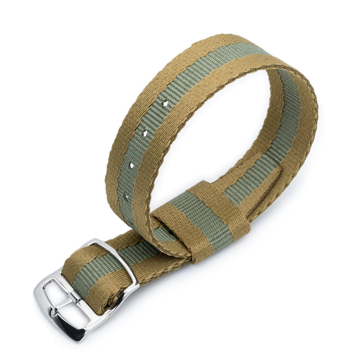 20mm MiLTAT RAF N7 Nato Watch Strap Sand and Military Green Polished Ladder Lock Slider Buckle Strapcode Watch Bands