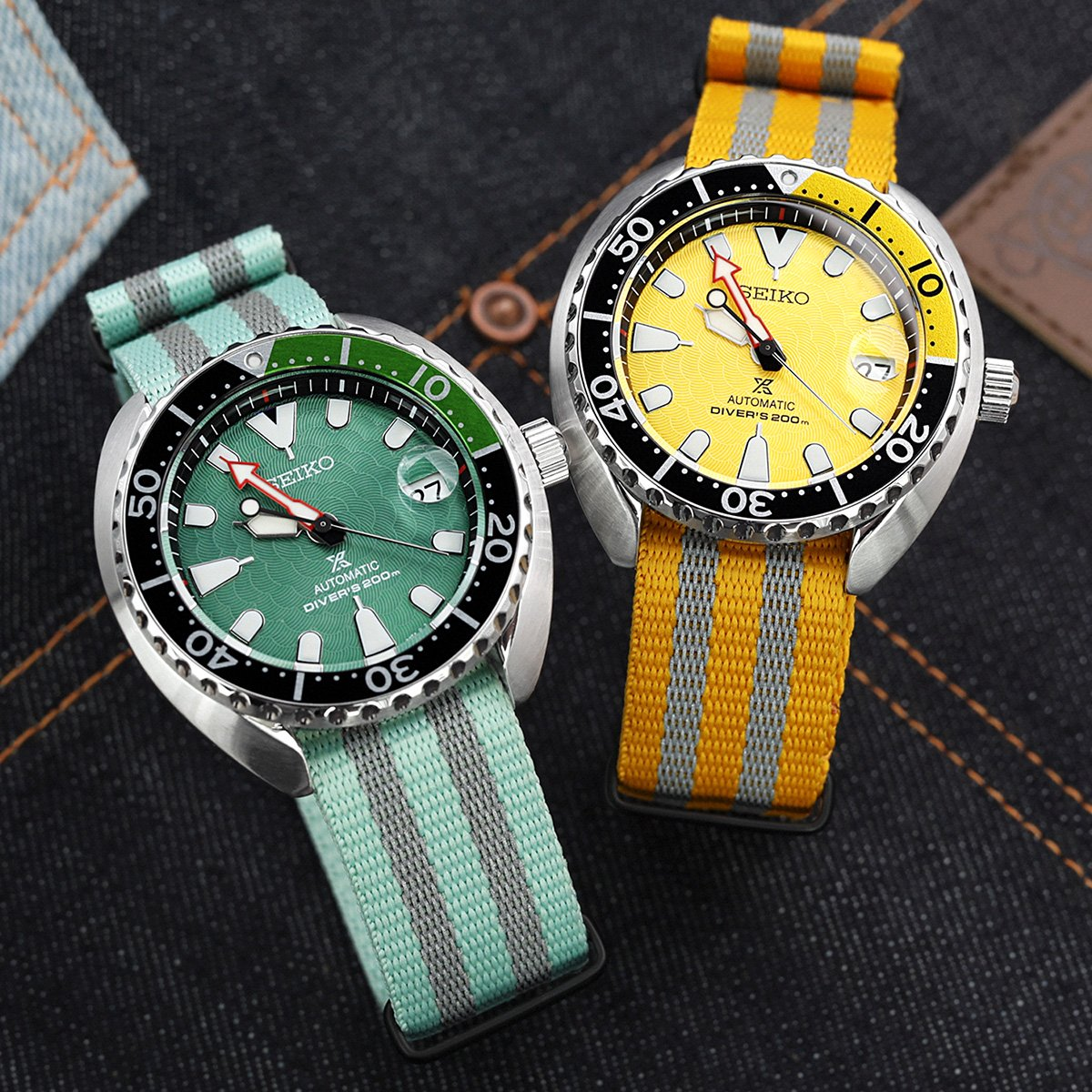 MiLTAT 20mm G10 NATO 3M Glow-in-the-Dark Watch Strap PVD Black Pastel Green & Grey Stripes Strapcode Watch Bands