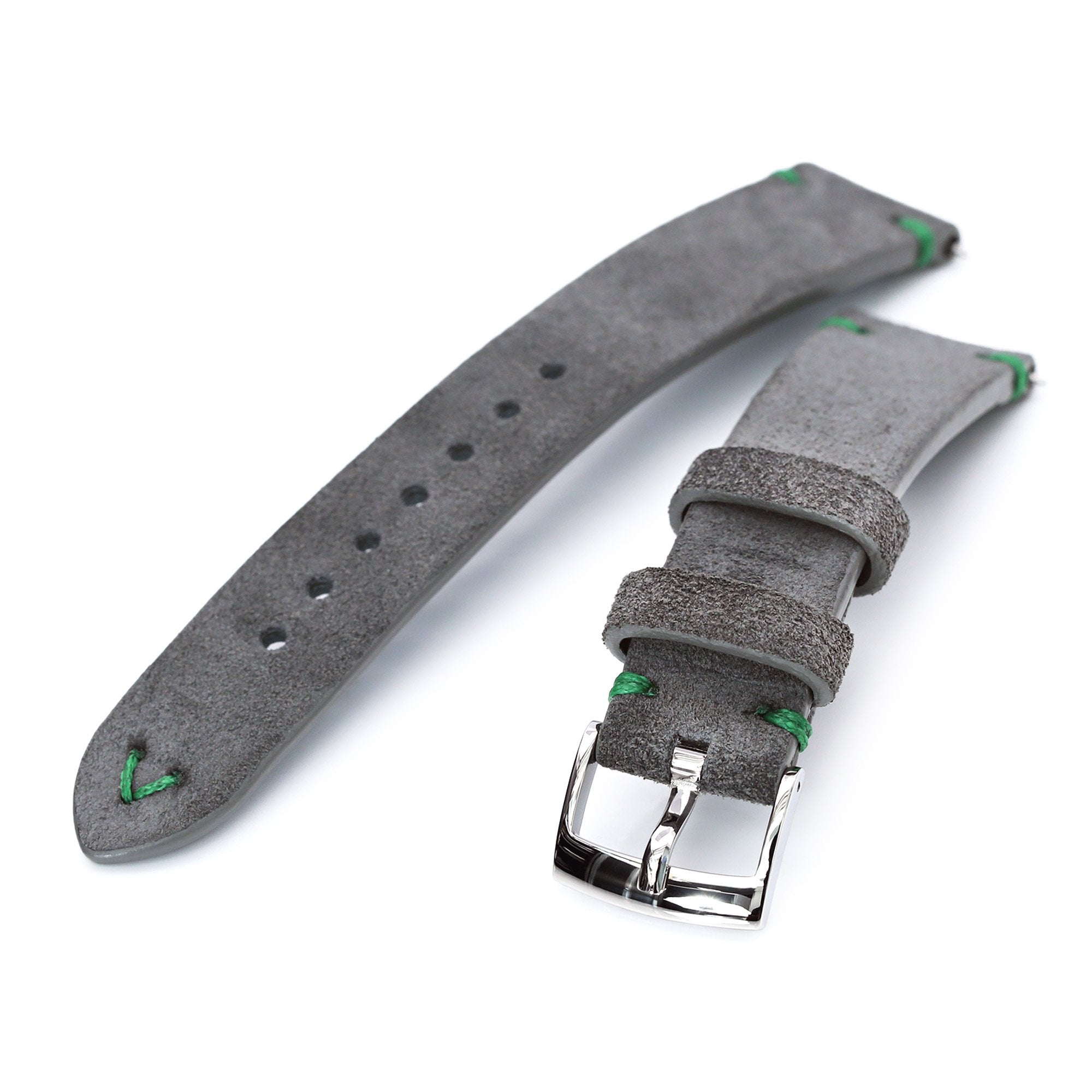 20mm Grey Quick Release Italian Suede Leather Watch Strap Green St. Strapcode Watch Bands