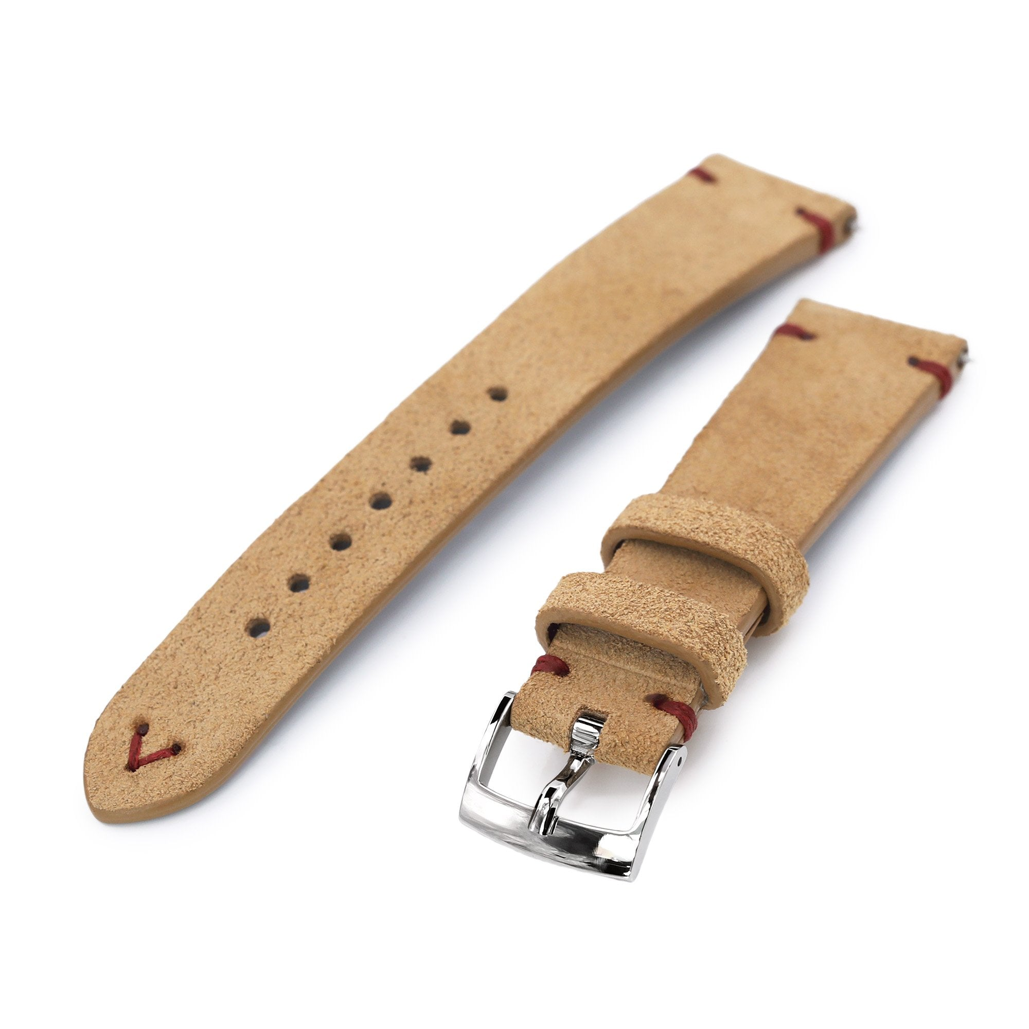 20mm Khaki Quick Release Italian Suede Leather Watch Strap Red St. Strapcode Watch Bands