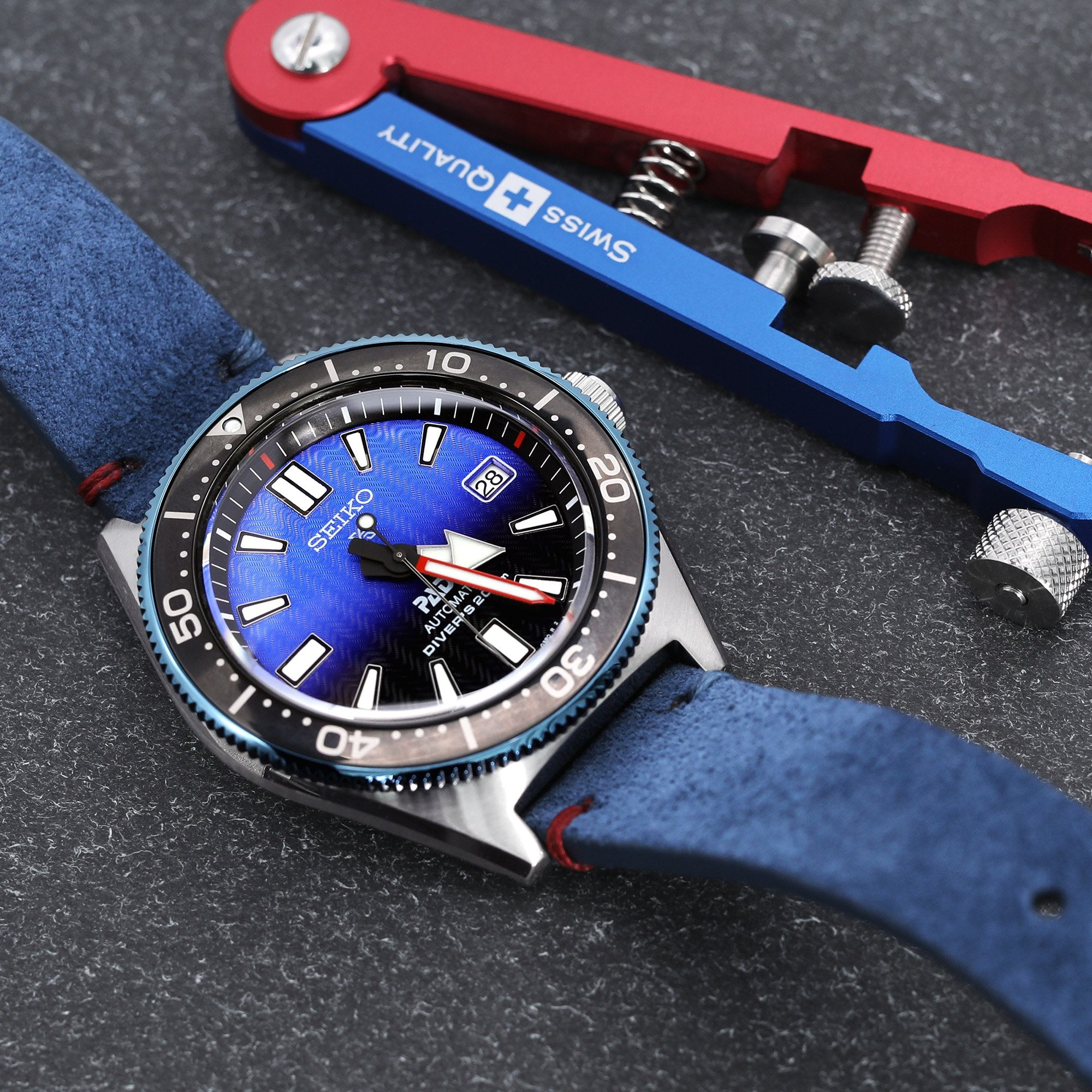20mm Blue Quick Release Italian Suede Leather Watch Strap Blue Red St. Strapcode Watch Bands