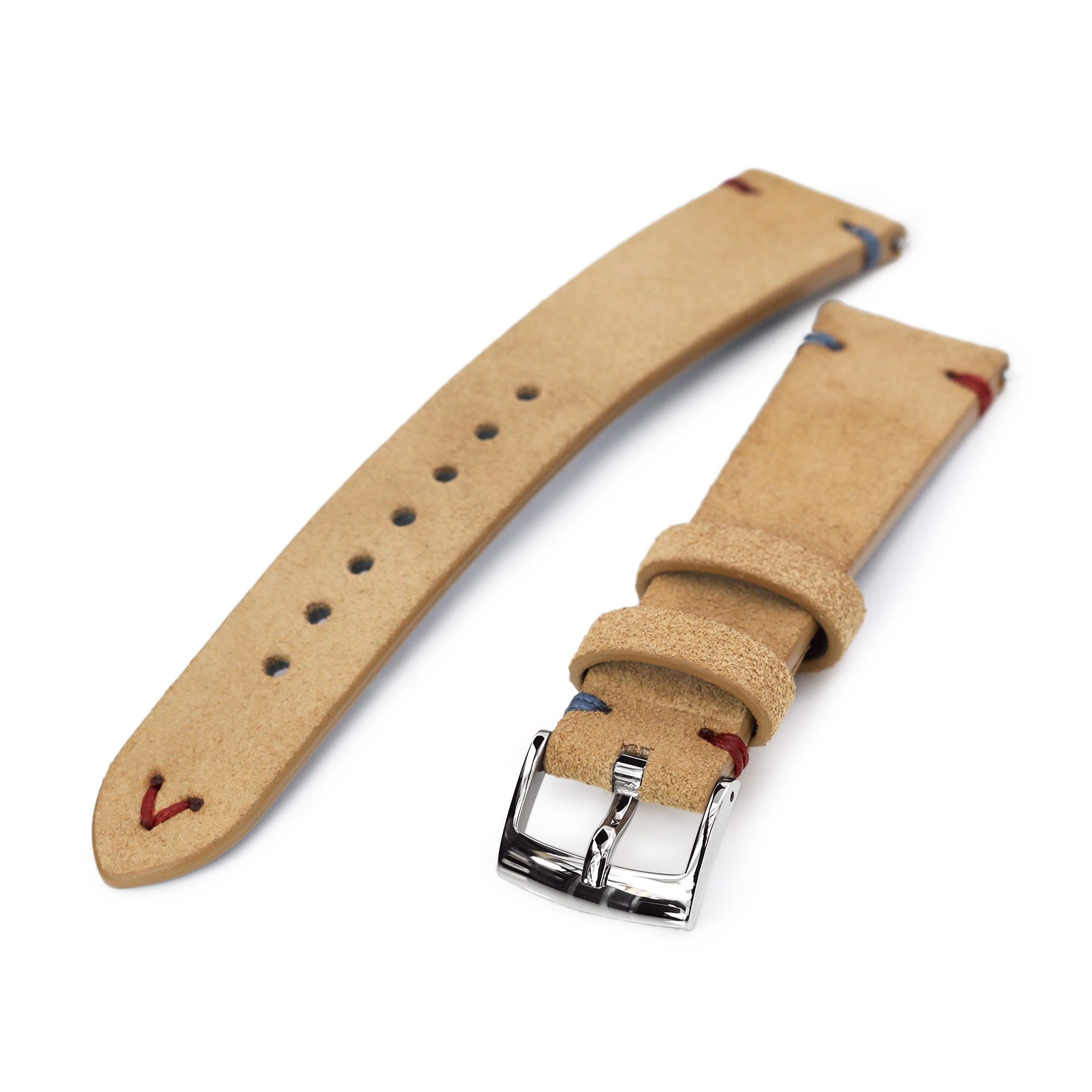 20mm Khaki Quick Release Italian Suede Leather Watch Strap Blue Red St. Strapcode Watch Bands