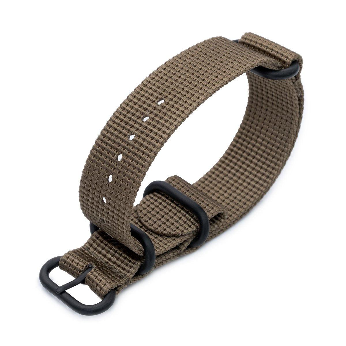 20mm 22mm or 24mm MiLTAT 3 Rings Zulu military watch strap 3D woven nylon armband Khaki PVD Black Hardware Strapcode Watch Bands