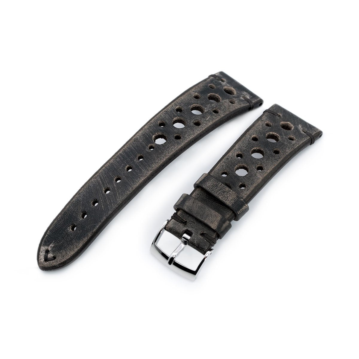 20mm or 22mm MiLTAT Italian Handmade Racer Vintage Charcoal Grey Watch Strap Same Stitching Strapcode Watch Bands