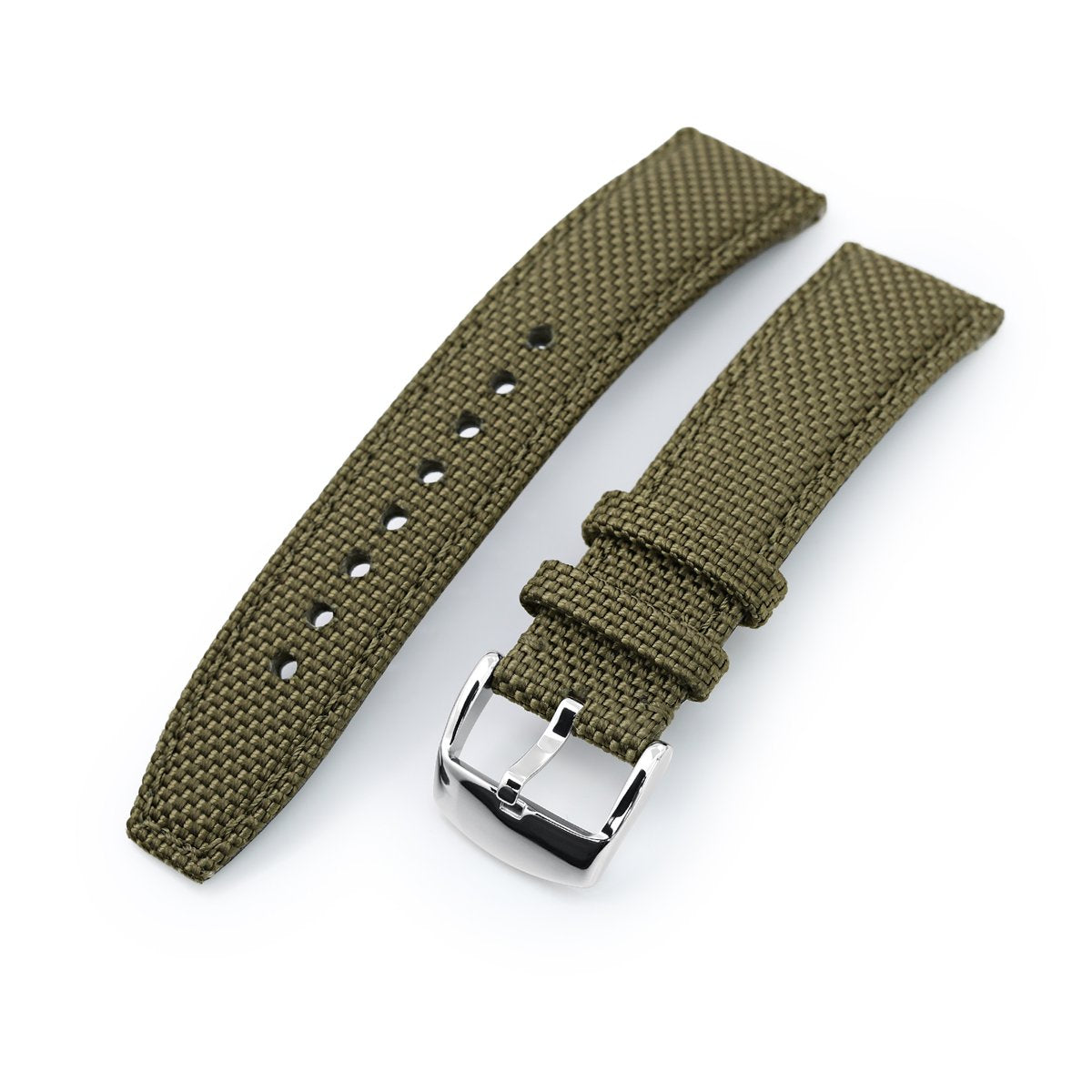 20mm 21mm or 22mm Strong Texture Woven Nylon Military Green Watch Strap Polished Strapcode Watch Bands