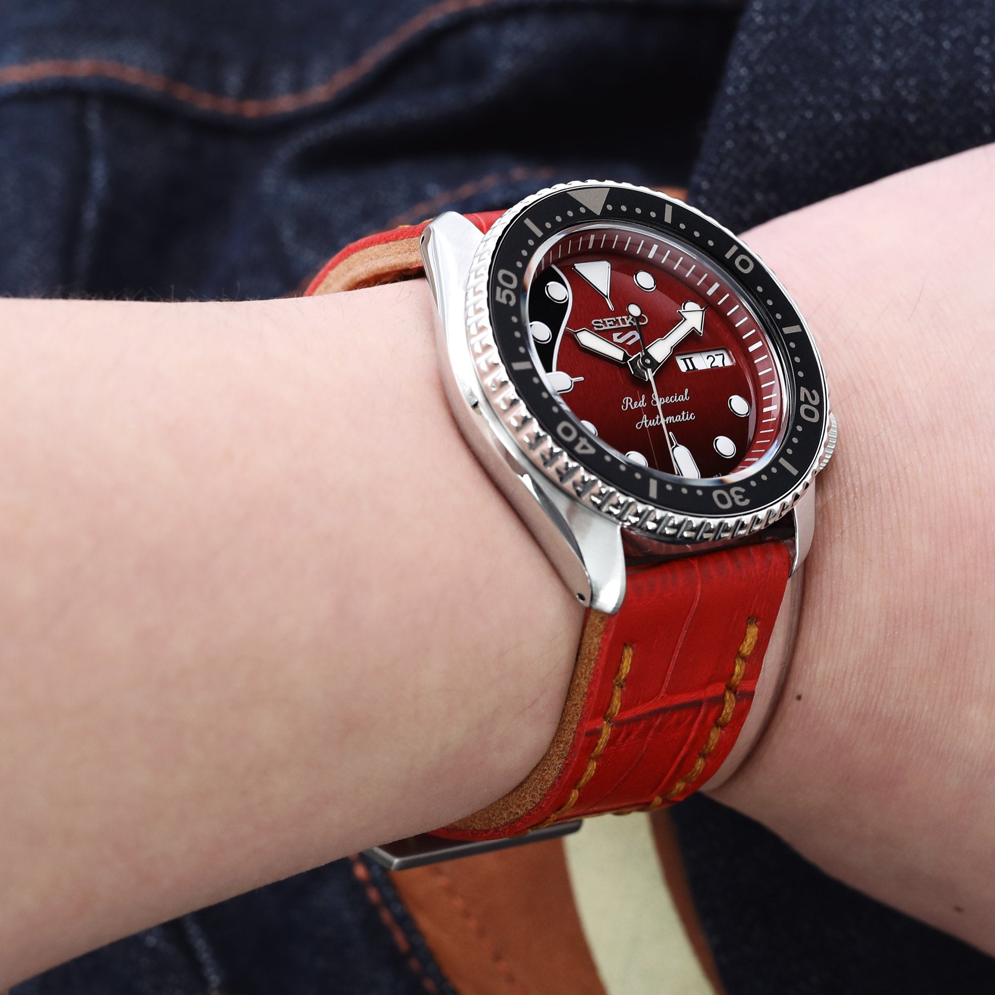 22mm MiLTAT Antipode Watch Strap Matte Red CrocoCalf in Tan Hand Stitches Strapcode Watch Bands
