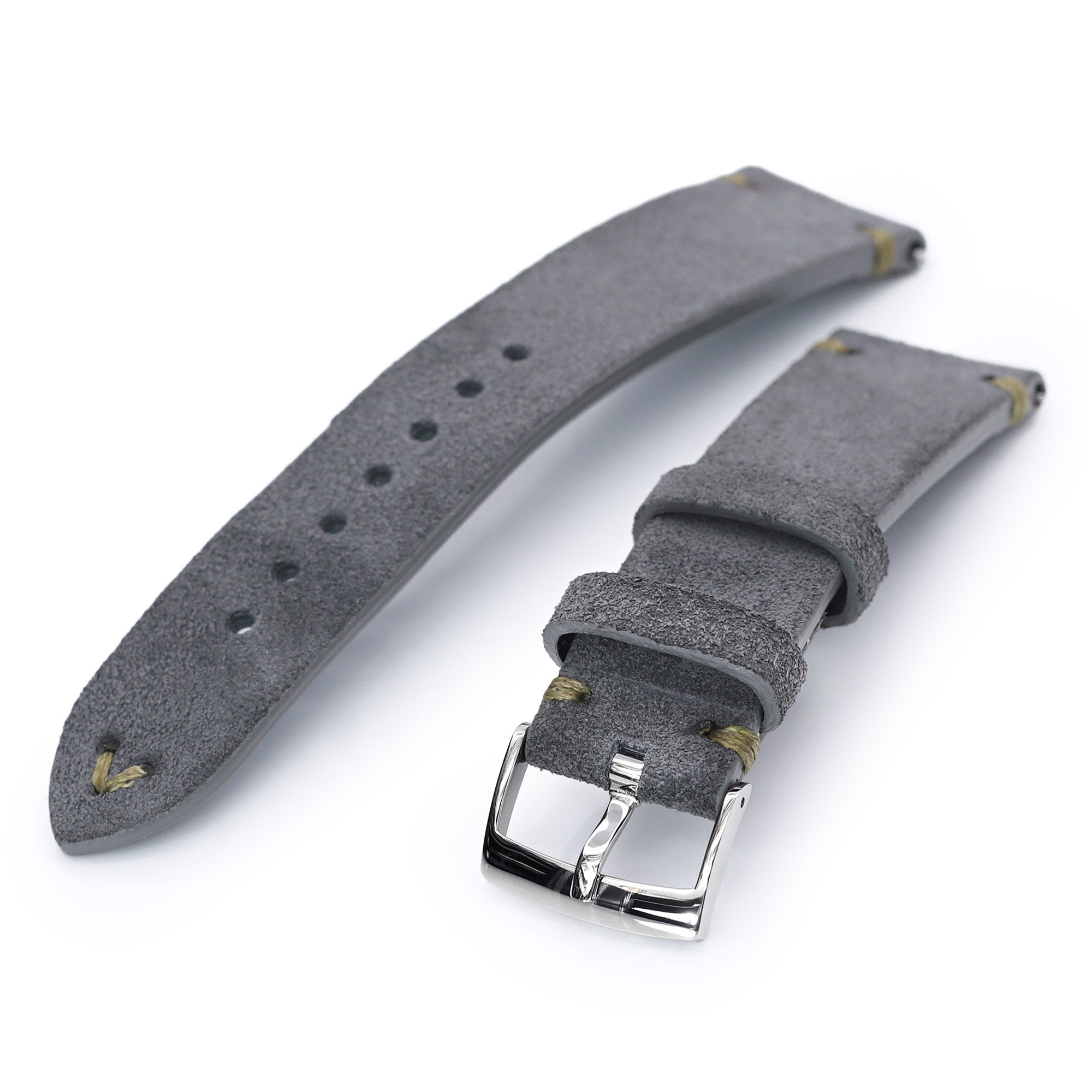 22mm Grey Quick Release Italian Suede Leather Watch Strap Military Green St. Strapcode Watch Bands