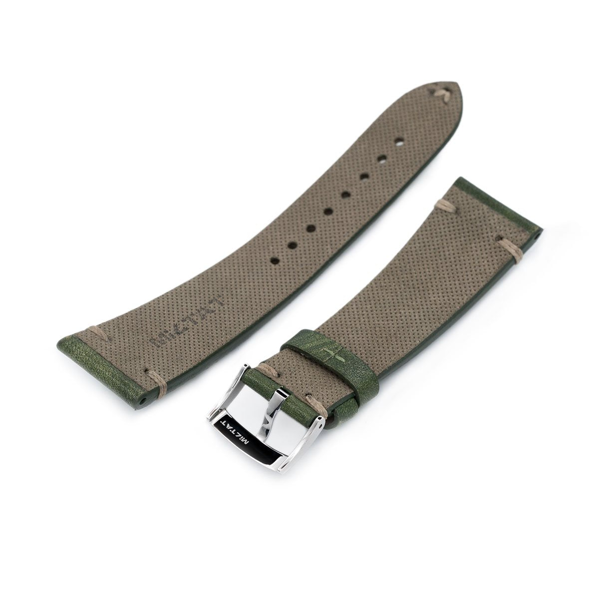 22mm MiLTAT Italian Handmade Brushed Green Watch Strap Khaki Stitching Strapcode Watch Bands
