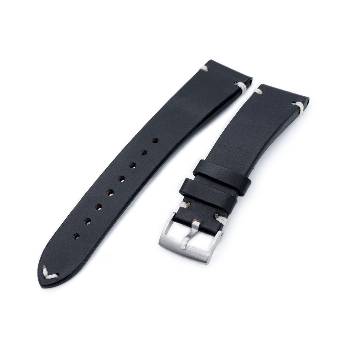 20mm 21mm 22mm MiLTAT Horween Chromexcel Watch Strap Color Black Beige Stitching Strapcode Watch Bands