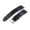20mm 21mm or 22mm MiLTAT Genuine American Alligator Square Scale Semi Matte Black Watch Strap Strapcode Watch Bands
