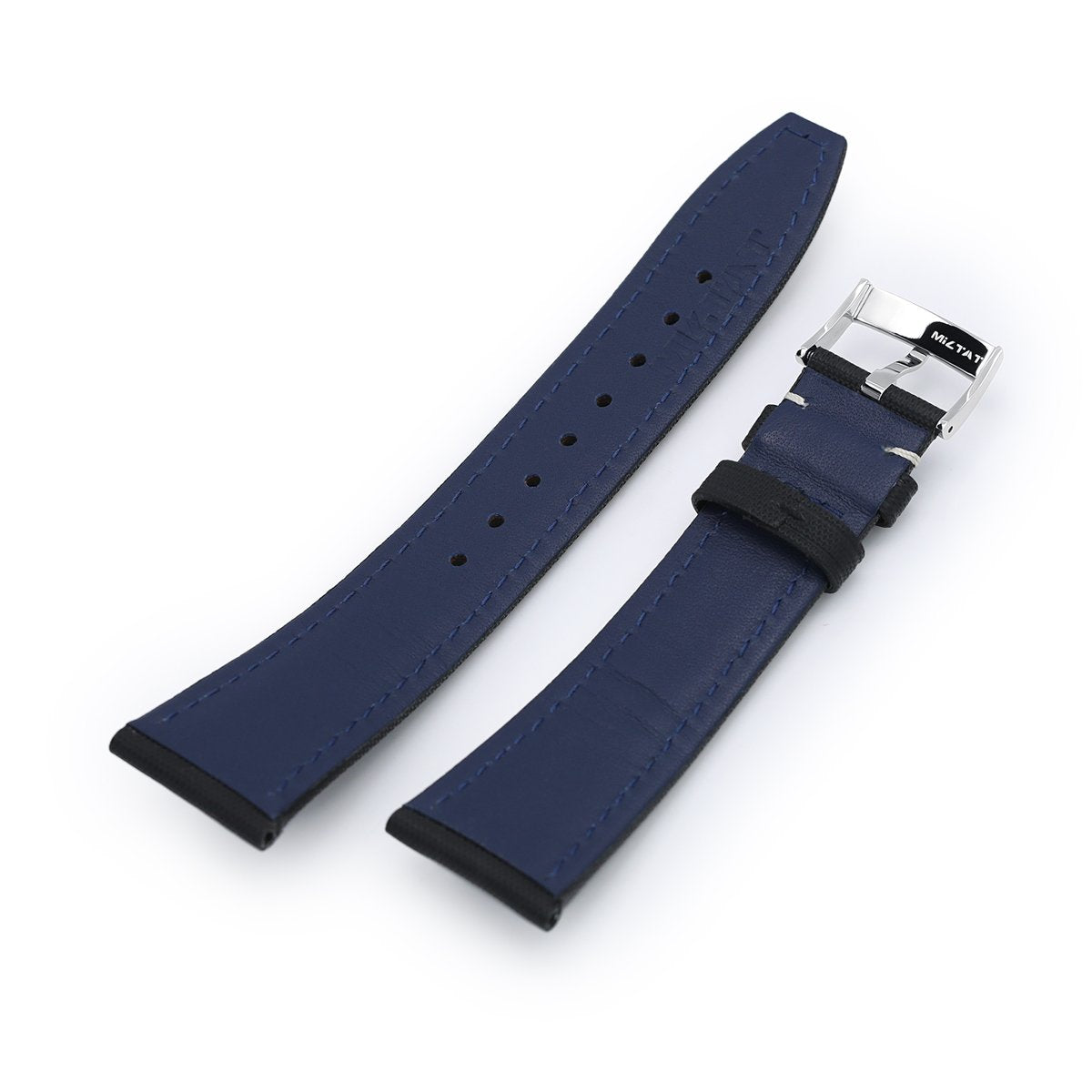 20mm or 22mm Black Woven Texture Watch Strap Beige Stitching Polished Strapcode Watch Bands