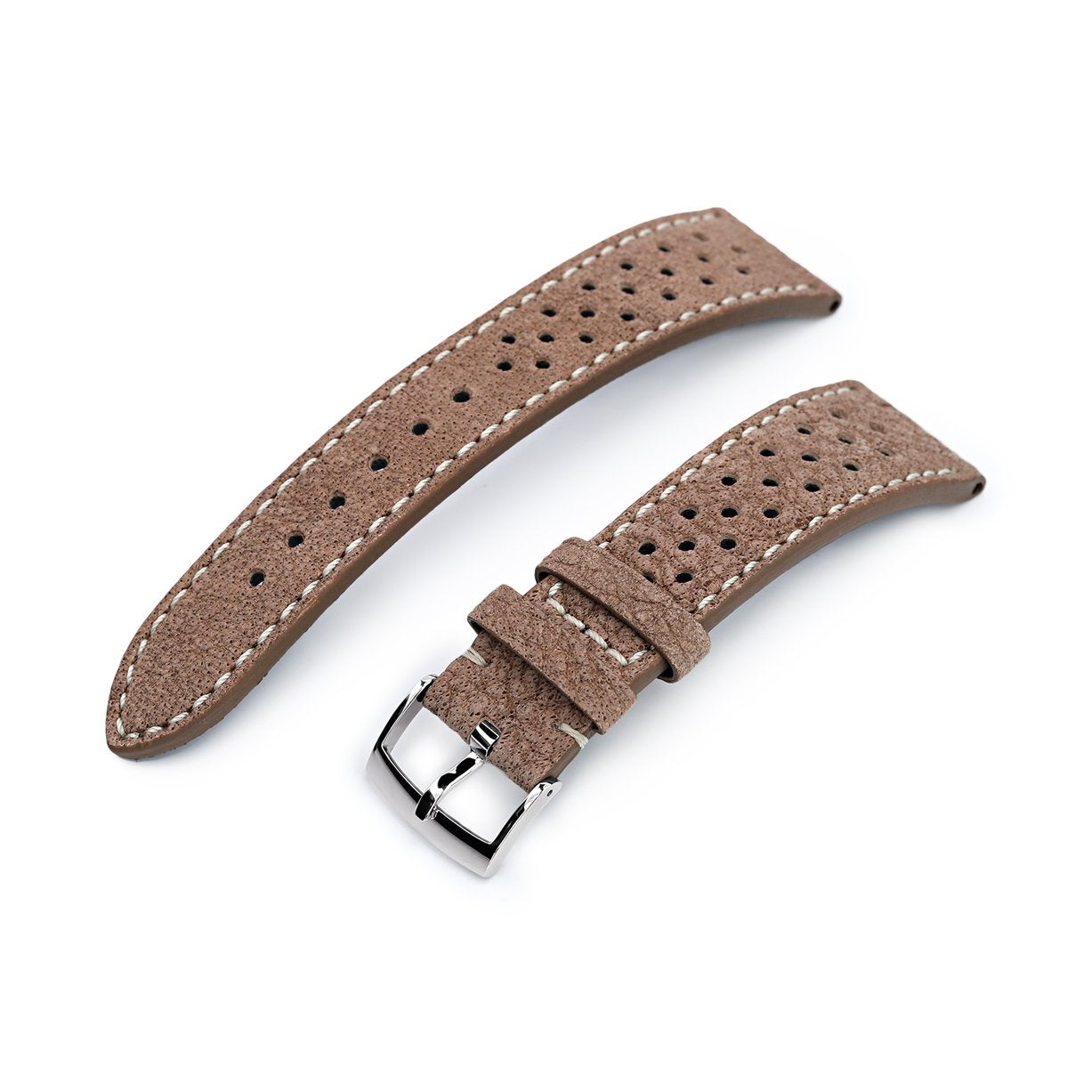 20mm or 22mm MiLTAT Genuine Calf Light Sandy Brown Nubuck Watch Strap Beige Stitching Strapcode Watch Bands