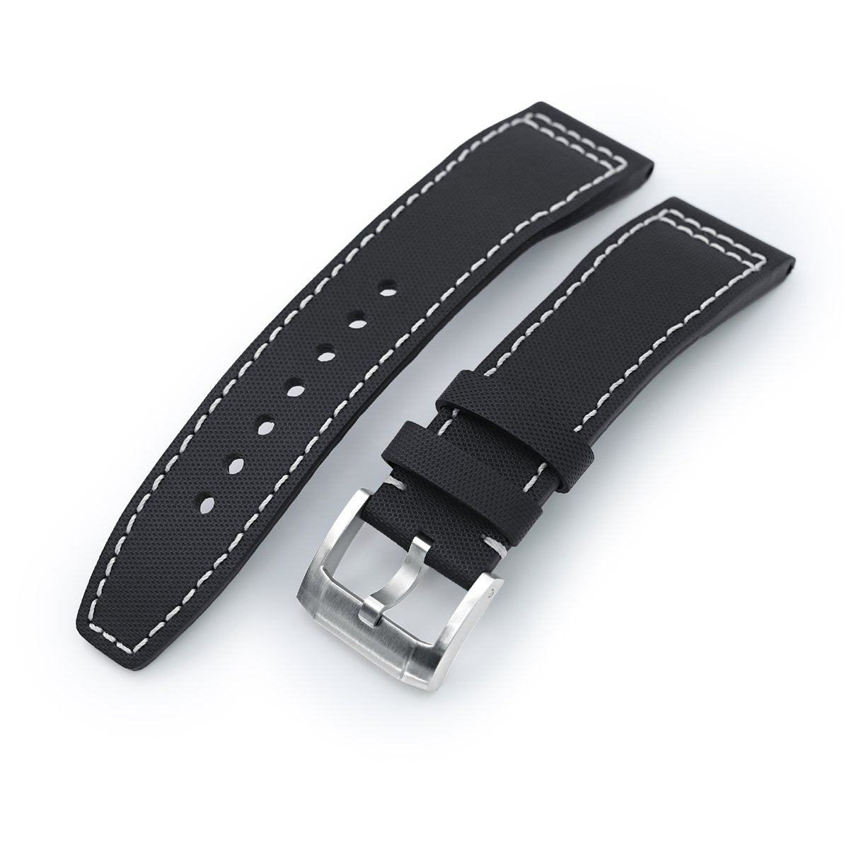20mm to 23mm Pilot Black Woven Texture Watch Strap Beige Stitching Brushed Strapcode Watch Bands