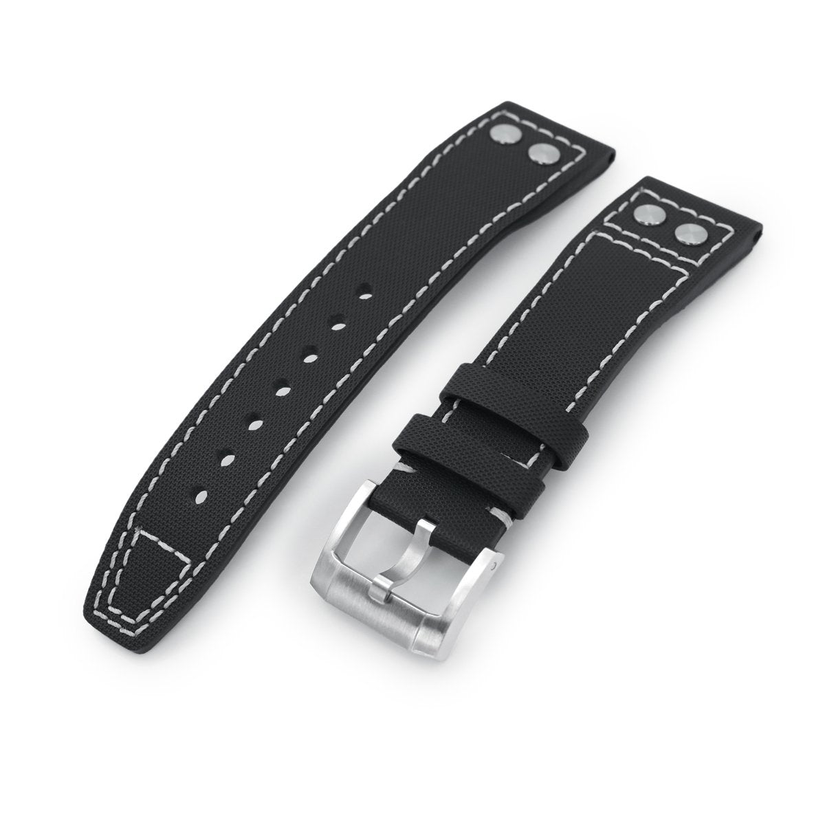 20mm to 23mm Pilot Black Woven Texture Rivet Lug Watch Strap Beige Stitching Brushed Strapcode Watch Bands