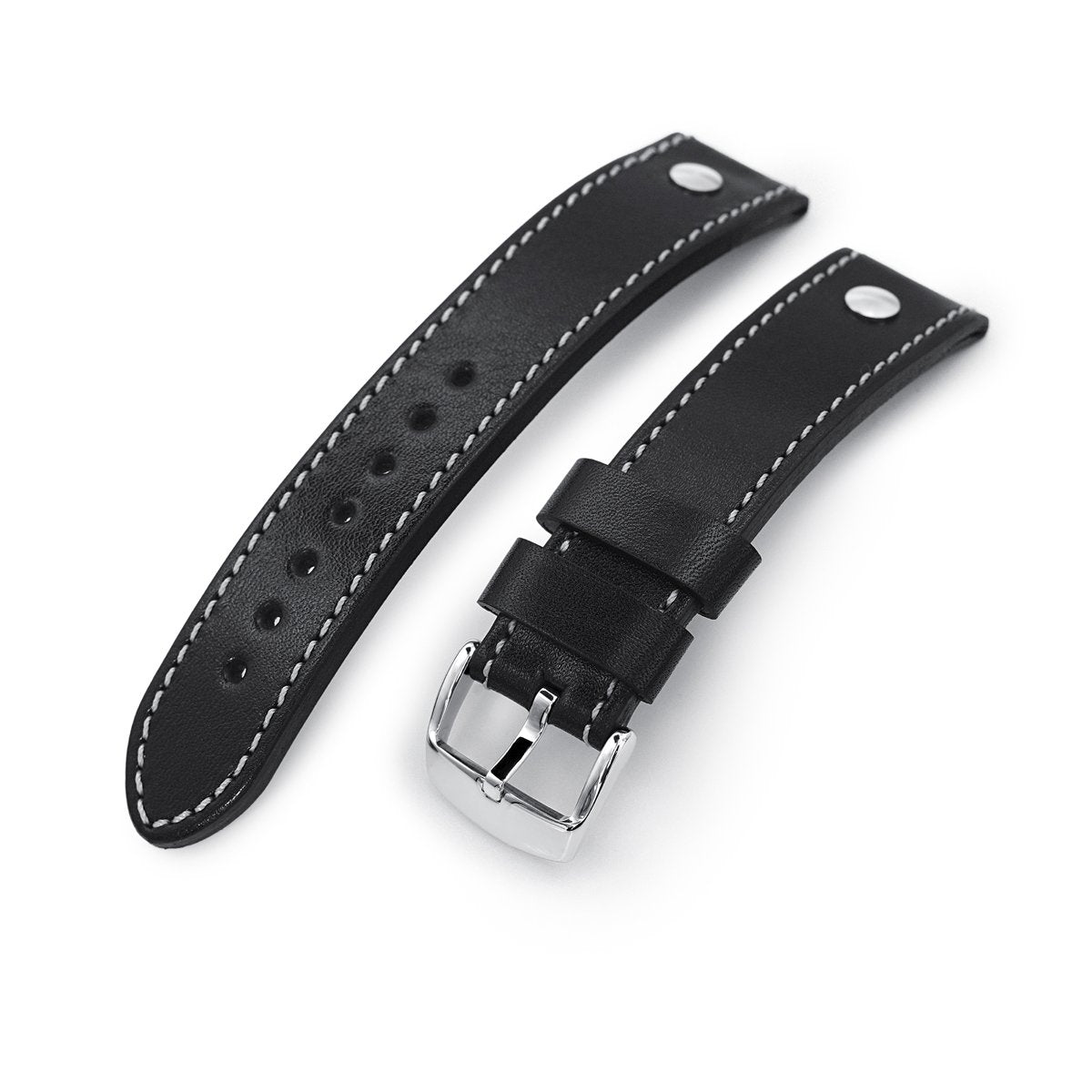 German made 22mm Sturdy Semi-gloss Black Saddle Leather with Rivet Watch Band Polished Strapcode Watch Bands