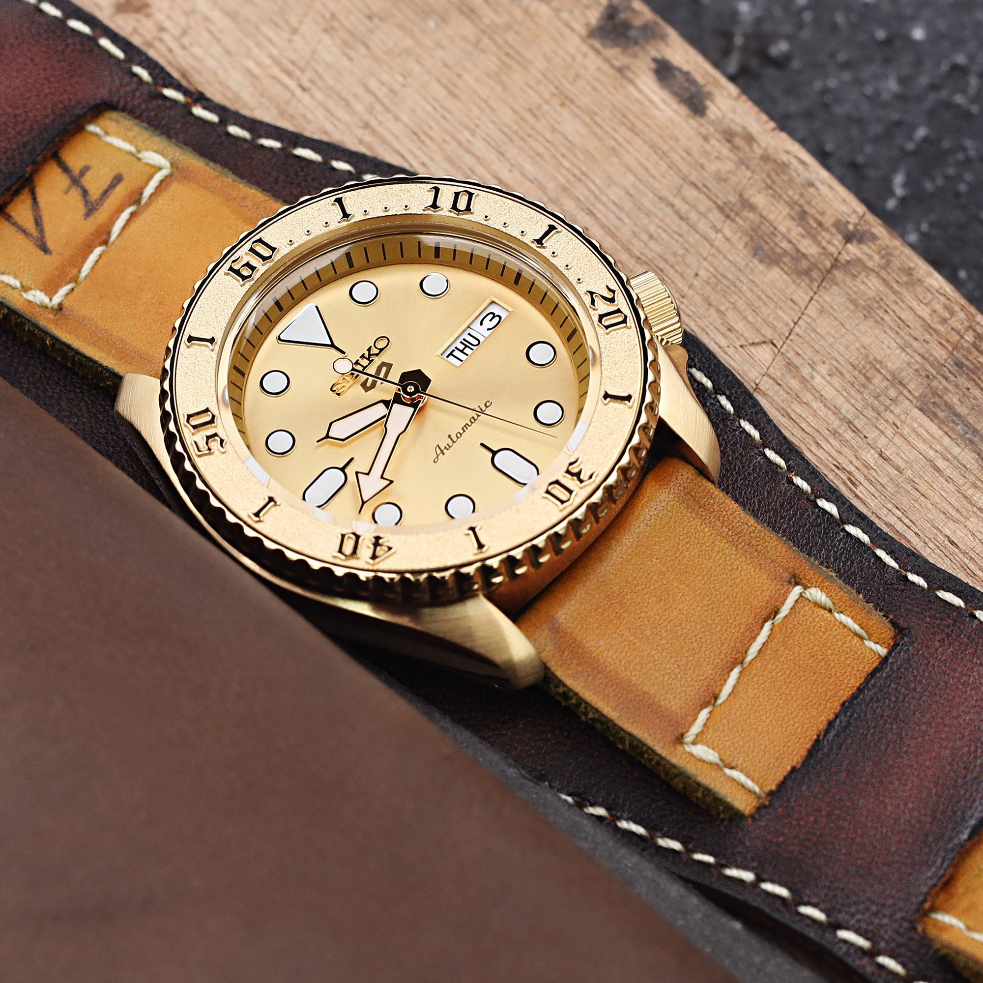 22mm Gunny X MT '74' Light Brown Handmade Quick Release Reversible Bund Leather Strap Strapcode Watch Bands