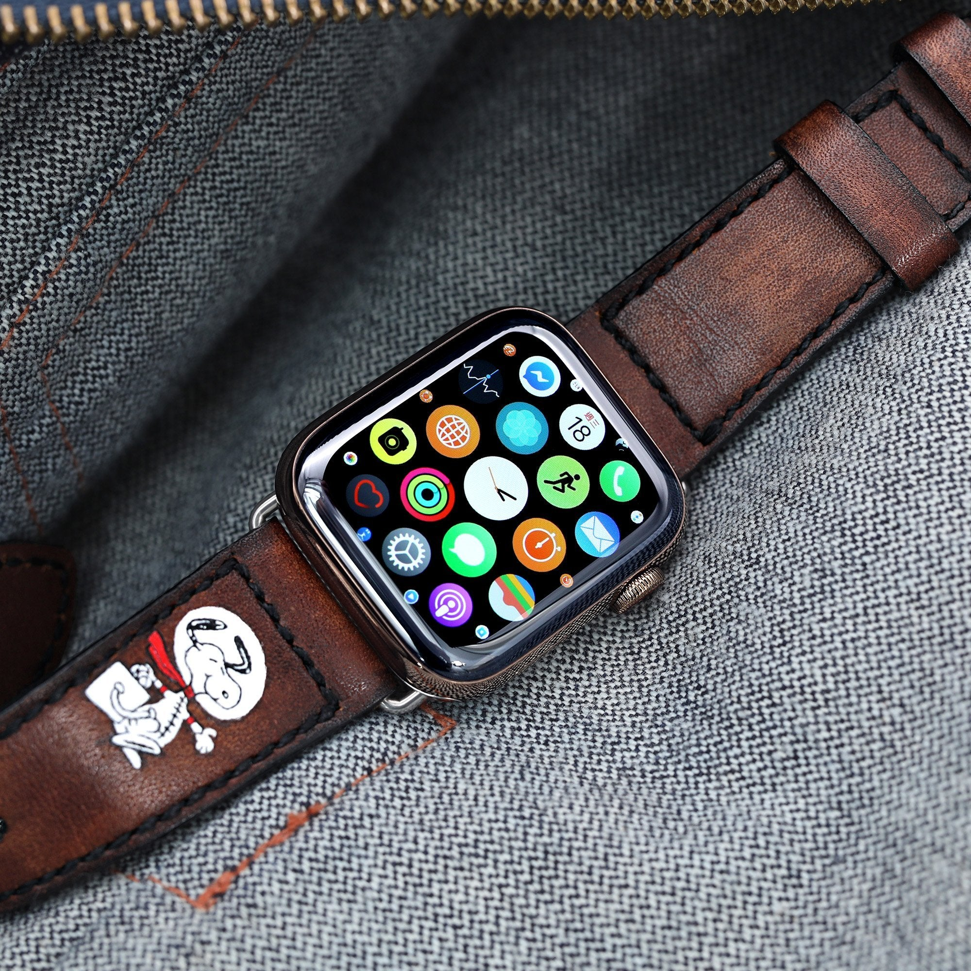 24mm Dark Brown Handmade Apple watch Quick Release Leather Watch Strap Minimalist Snoopy Strapcode Watch Bands