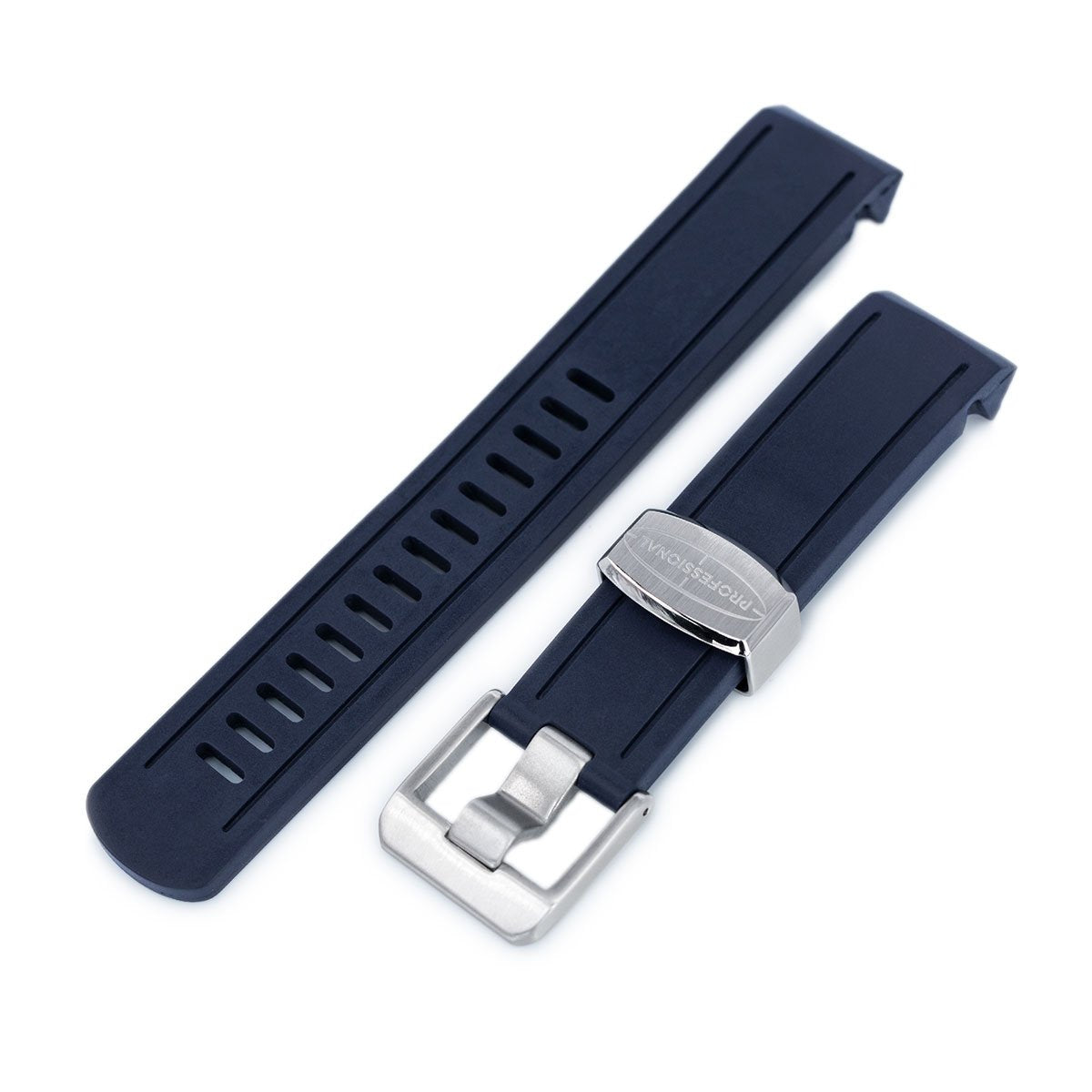 20mm Crafter Blue Navy Blue Rubber Curved Lug Watch Band for Seiko Sumo SBDC001 Strapcode Watch Bands