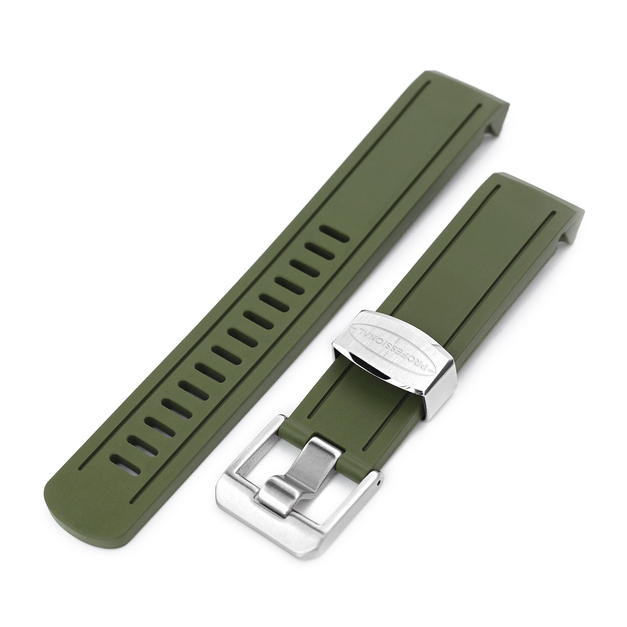 20mm Crafter Blue Military Green Rubber Curved Lug Watch Band for Seiko Sumo SBDC001 Strapcode Watch Bands