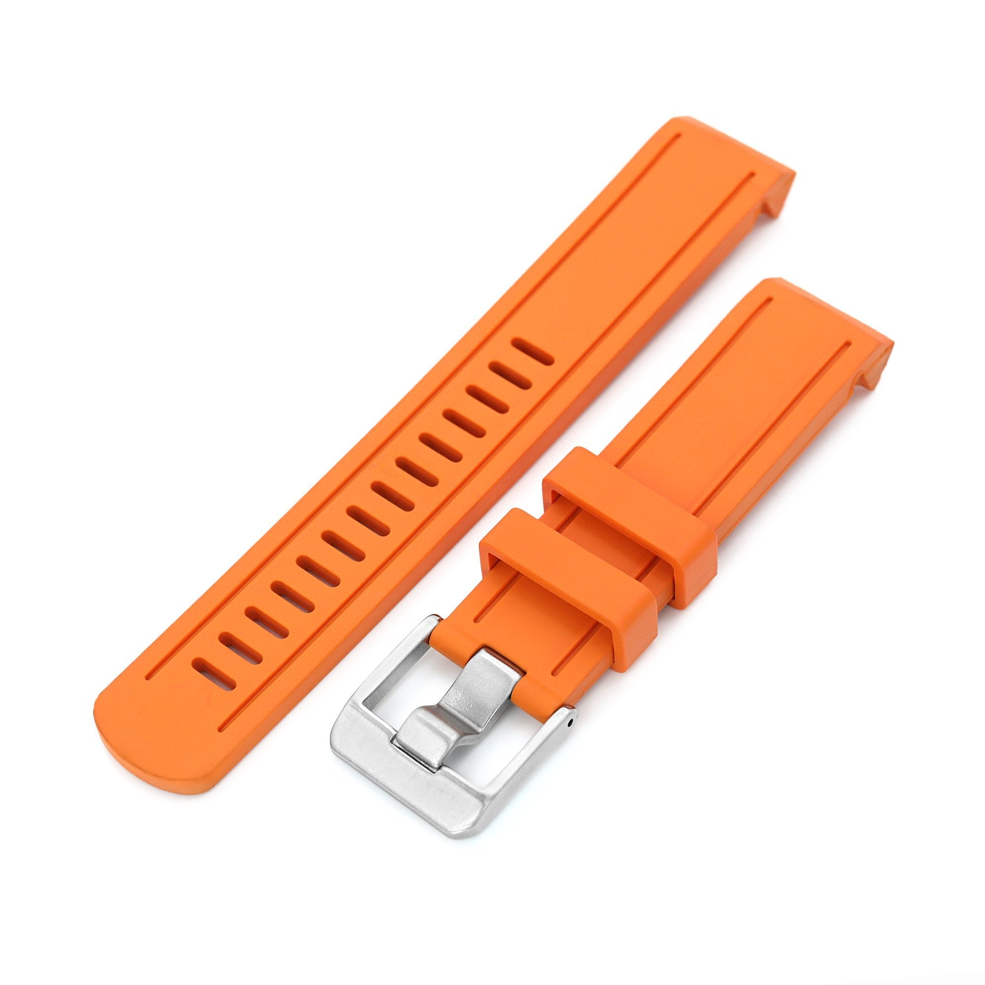 20mm Crafter Blue Orange Rubber Curved Lug Watch Band for Seiko Sumo SBDC001 Strapcode Watch Bands