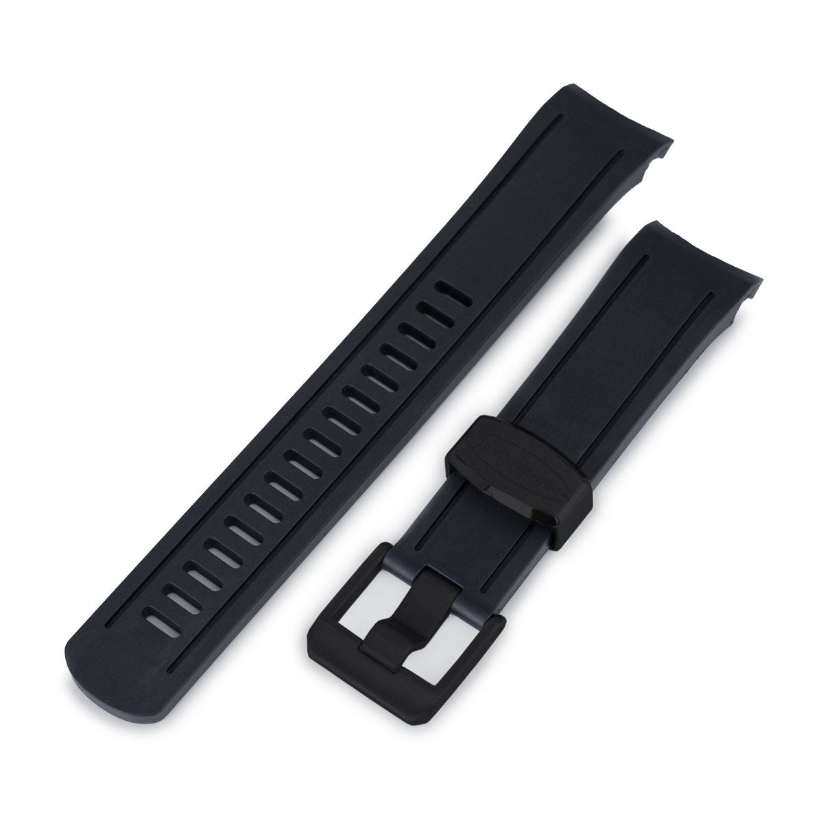 22mm Crafter Blue Black Rubber Curved Lug Watch Band for Seiko SKX007 PVD Black Buckle Strapcode Watch Bands