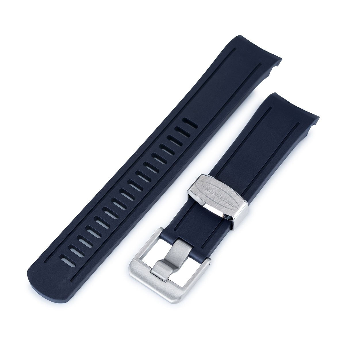 22mm Crafter Blue Navy Blue Rubber Curved Lug Watch Band for Seiko SKX007 Strapcode Watch Bands