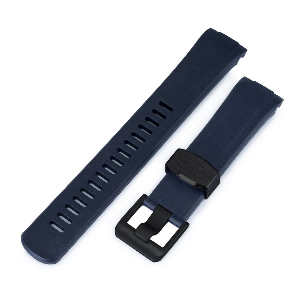 22mm Crafter Blue Navy Blue Rubber Curved Lug Watch Band for Seiko Turtle SRP777 PVD Black Buckle Strapcode Watch Bands