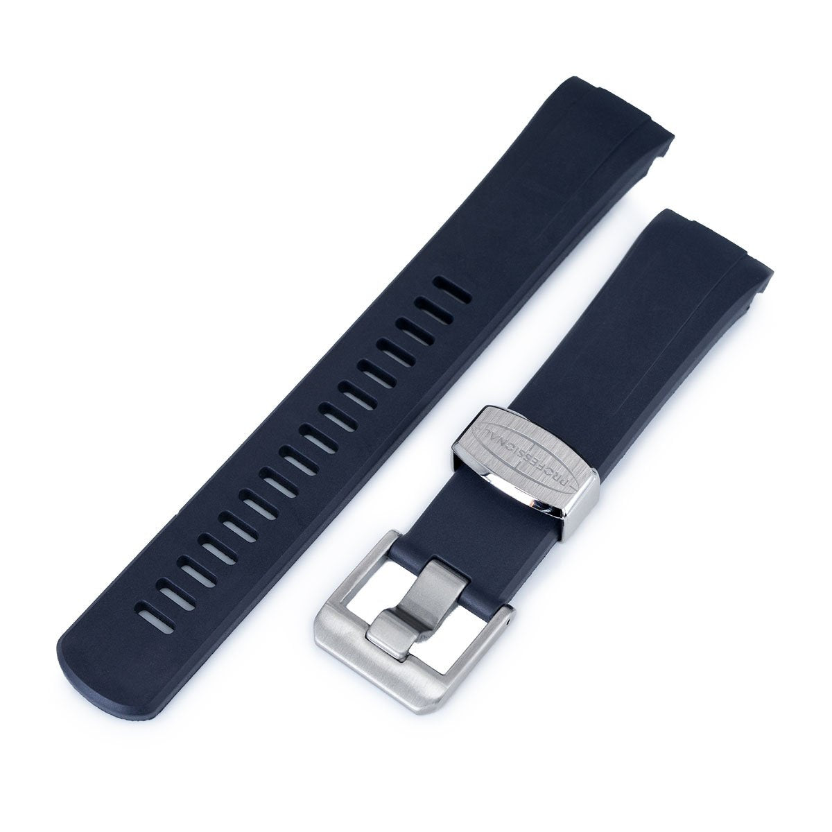 22mm Crafter Blue Navy Blue Rubber Curved Lug Watch Band for Seiko Turtle SRP777 Strapcode Watch Bands