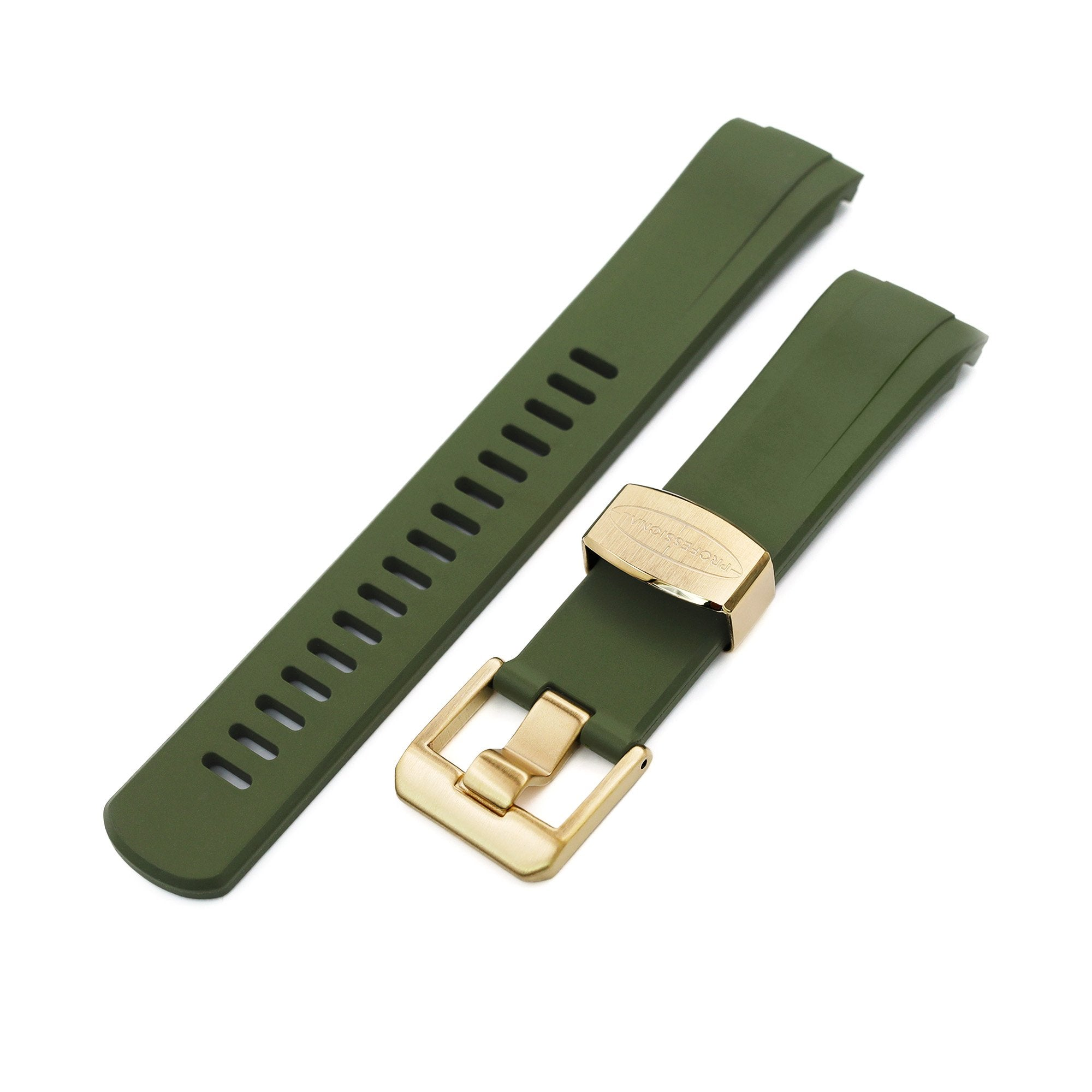 Crafter Blue 22mm Curved Lug End Military Green Rubber Dive Watch Strap for Seiko Gold Turtle SRPC44 IP Gold Buckle Strapcode Watch Bands