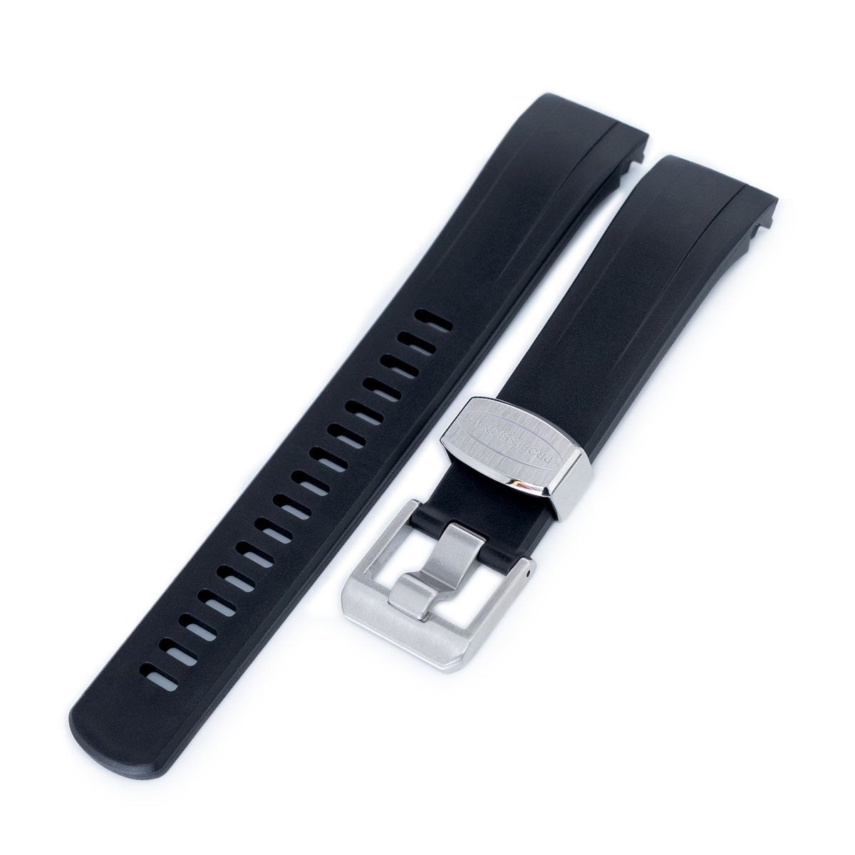 22mm Crafter Blue Black Rubber Curved Lug Watch Strap for Seiko Samurai SRPB51 Strapcode Watch Bands