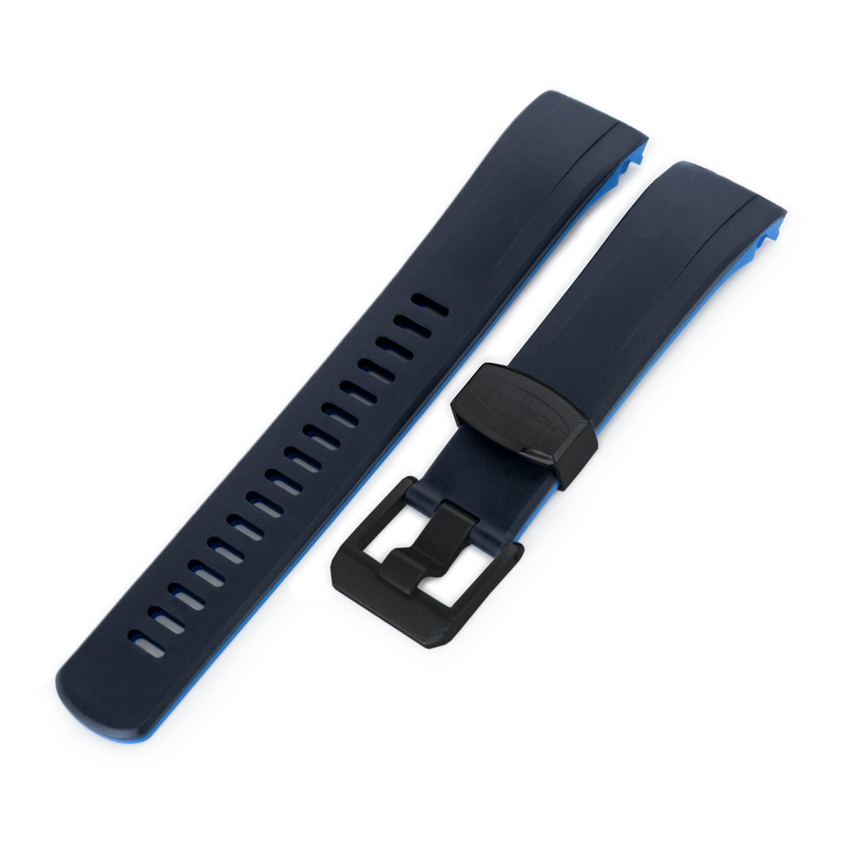 22mm Crafter Blue Dual Color Black & Blue Rubber Curved Lug Watch Strap for Seiko Samurai SRPB51 PVD Black Buckle Strapcode Watch Bands